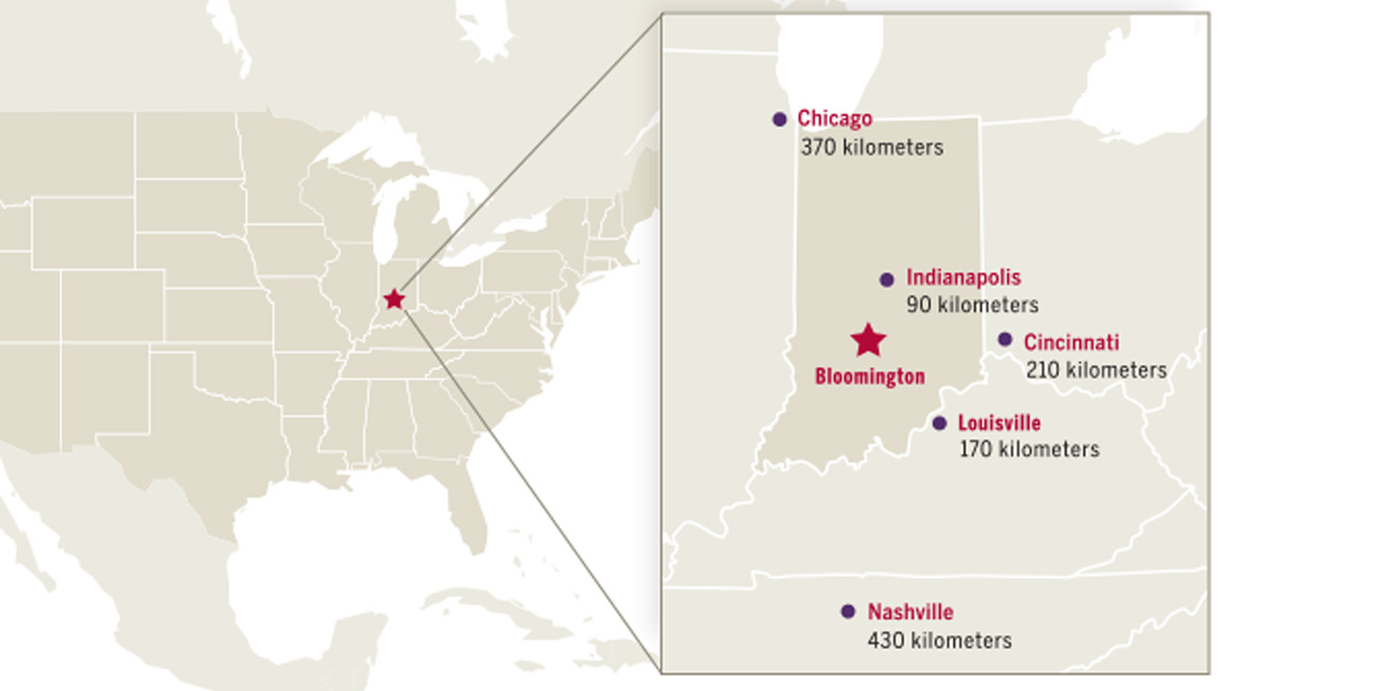 Map of the United States with nearby cities and their distance from Indiana University campus.