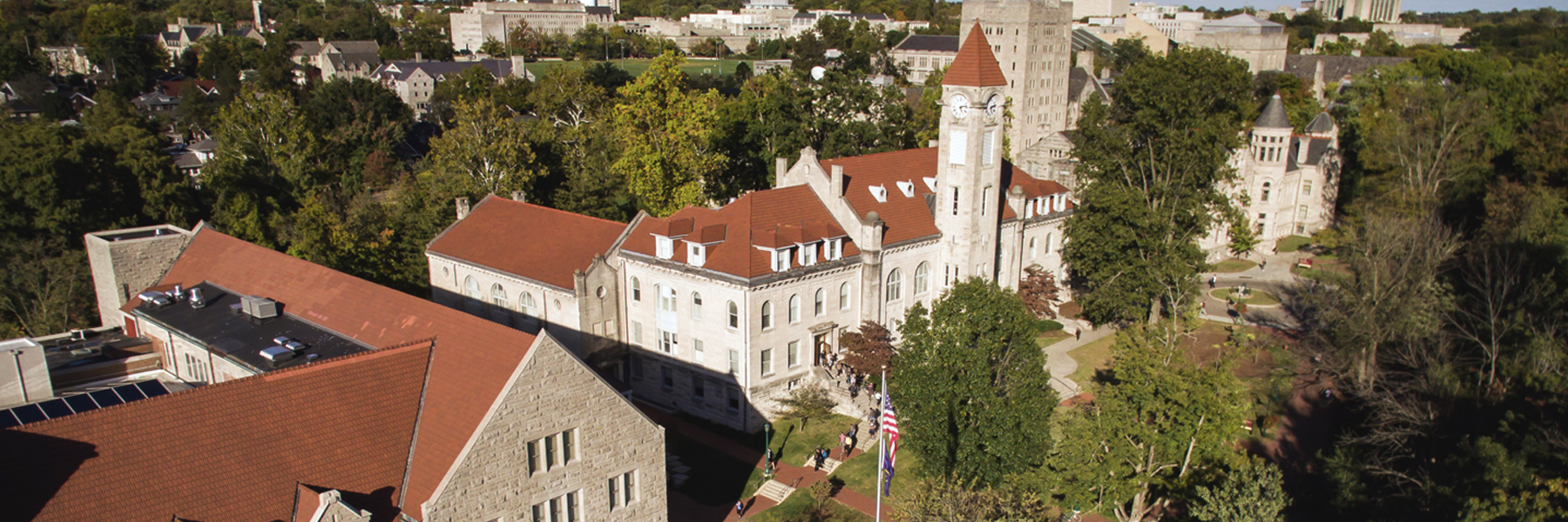 A drone's view of the Student Building, home to the IU Office of NAGPRA.